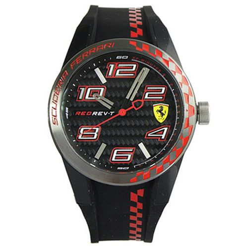 Scuderia Ferrari 法拉利 時尚碳纖維紋運動錶-黑紅/44mm/FA0830336