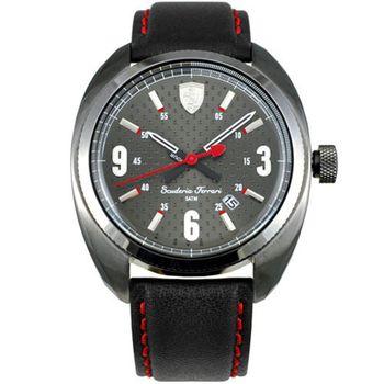 Scuderia Ferrari 法拉利 2015 時尚灰面數字皮帶腕錶-43mm/FA0830207