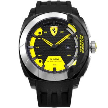 Scuderia Ferrari 法拉利 極速時尚 TR90 Black 黃銀刻度橡膠腕表-46mm(FA0830204)