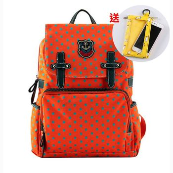 【買1送1】韓版學院風拉鍊式點點後背包-共2色(送手機袋零錢包)