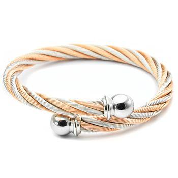 CHARRIOL 夏利豪經典鋼索手環-雙色玫瑰金 (粗款) / 04-901-1216-0 S