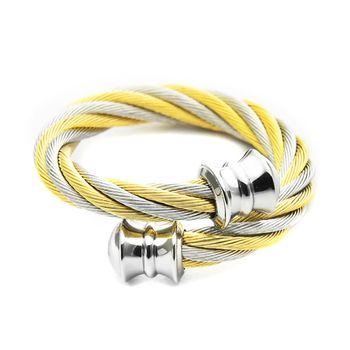 CHARRIOL 夏利豪經典鋼索戒指-雙色金 / 02-801-1217-0 S
