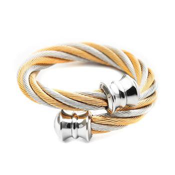 CHARRIOL 夏利豪經典鋼索戒指-雙色玫瑰金 / 02-901-1217-0 S