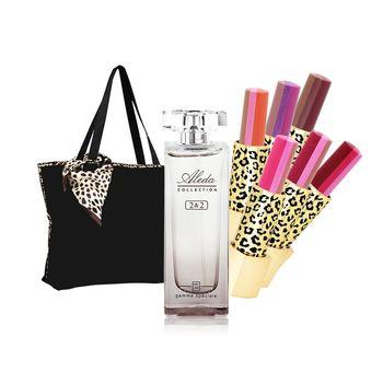 【ARONA】好氣色香氛唇膏週年慶超值9件組(三色唇膏X6+香水30ml+2用托特包+絲巾)