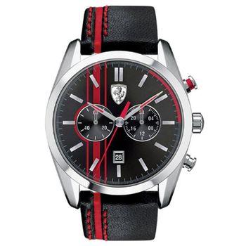 Scuderia Ferrari 法拉利 沸騰競速計時皮帶運動錶-黑紅/44mm/FA0830177