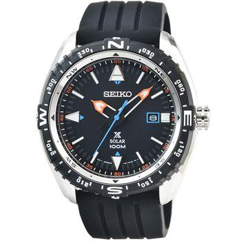 SEIKO 精工光動能鋼帶潛水膠帶錶-黑 / SNE423P1