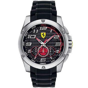 Scuderia Ferrari 法拉利 碳賽車設計款腕錶/黑+銀-46mm-FA0830088