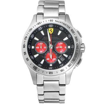 Scuderia Ferrari 法拉利 超速鋼鐵三眼計時賽車時尚腕錶-銀/44mm/FA0830052