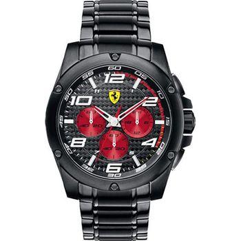Scuderia Ferrari 法拉利三眼競速時尚鋼帶運動男用腕錶-46mm/FA0830037