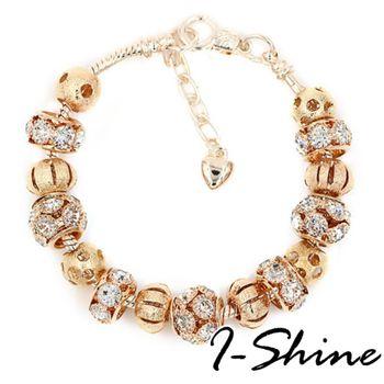 【I-Shine】讓我愛-潘朵拉風 晶鑽金蔥鍍金串珠手鍊