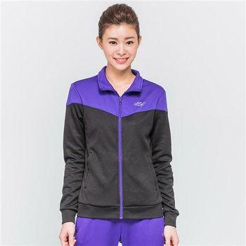 FIVE UP-拼接撞色針織外套-女-紫