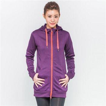 FIVE UP-修身長版連帽針織外套-女-紫