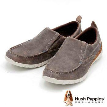 Hush Puppies 素面簡約直套式懶人鞋 男款-褐(另有黑)