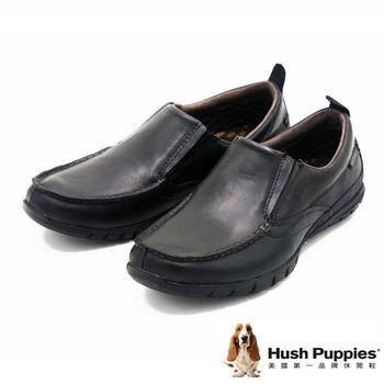 Hush Puppies 素面簡約直套式懶人鞋 男款-黑(另有褐)