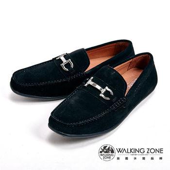 WALKING ZONE 素色絨面經典帆船鞋休閒鞋 男鞋-黑(另有灰)