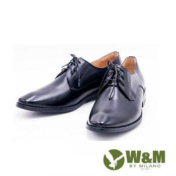 W&M男仕商務正裝綁帶皮鞋-黑
