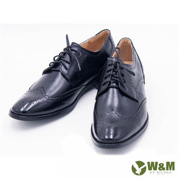 W&M復古雕花設計 綁帶皮鞋 男鞋-黑
