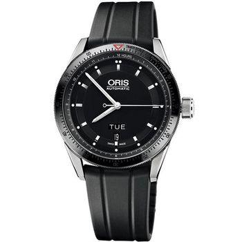 Oris Artix GT Day- Date 單向轉圈機械腕錶-黑x橡膠錶帶/42mm 0173576624434-0742120FC