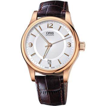 Oris Classic Date 經典都會時尚機械腕錶-銀x玫塊金/36mm 0173375784831-0761810