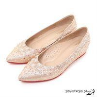莎曼莎 鞋~MIT溫暖手作~閃耀巨星 #45 #45 #45 耀眼金蔥布彩色水鑽內增坡跟紅