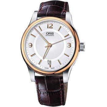 Oris Classic Date 經典都會時尚機械腕錶-銀x玫塊金框/42mm 0173375944331-0752012