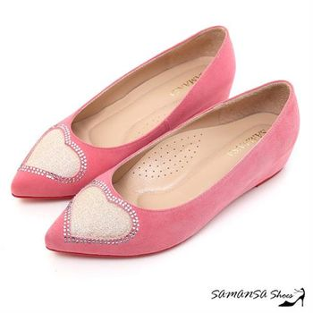 莎曼莎手工鞋【MIT全真皮】鑽石愛心--羊麂皮內增高坡跟紅底鞋-#15115 蜜桃粉