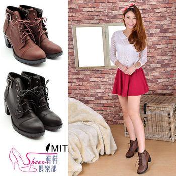 【ShoesClub】【055-2188】台灣製MIT 帥氣軍風皮革綁帶圓頭騎士高跟短靴.2色 黑/咖