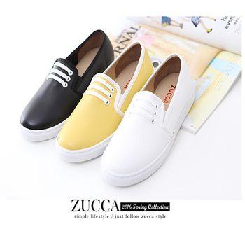 ZUCCA【Z5923】率性簡約布感繫帶休閒鞋-黃色/黑色