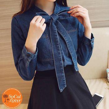 【SCL南加州丹寧時尚】T1665 深藍大蝴蝶結牛仔造型口袋長袖襯衫
