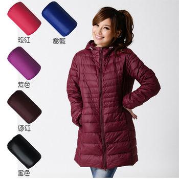 買外套 送馬卡龍棉T 【 TOMATO BEAR】增絨超暖輕量羽絨衣/長版(5色 酒紅/黑色/玫紅/寶藍/紫色)
