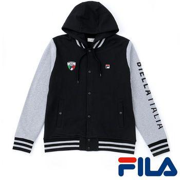FILA男仕連帽棒球外套(黑灰)1JKP-5403-BK