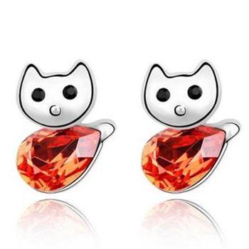 【米蘭精品】水晶耳環925純銀耳針式時尚可愛小貓咪4色73bd265