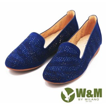 W&M 復古水鑽典雅直套樂福鞋 女鞋-藍(另有黑)
