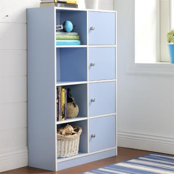 【咱的厝】DIY弗雷八格四門櫃/書櫃/置物櫃/收納櫃(藍色)