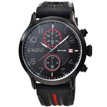 Maserati 瑪莎拉蒂三眼計時膠帶錶-IP黑 / R8871618005