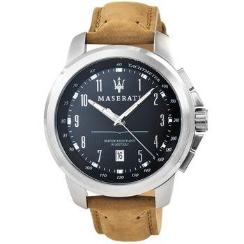 Maserati 瑪莎拉蒂大錶徑皮帶錶-黑 / R8851121004
