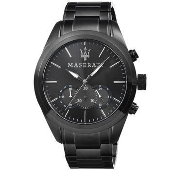 Maserati 瑪莎拉蒂三眼計時鋼帶錶-IP黑框 / R8873612002
