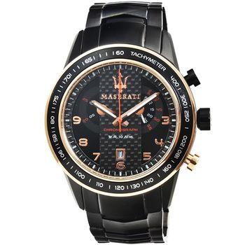 Maserati 瑪莎拉蒂三眼計時鋼帶錶-IP黑 / R8873610002
