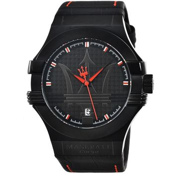 Maserati 瑪莎拉蒂大錶徑皮帶錶-IP黑 / R8851108010
