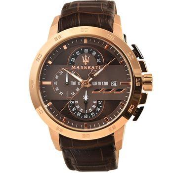 Maserati 瑪莎拉蒂三眼計時皮帶錶-玫瑰金 / R8871619001
