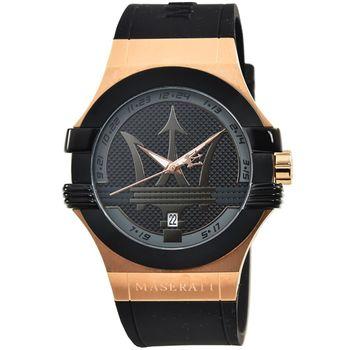 Maserati 瑪莎拉蒂大錶徑膠帶錶-IP黑框玫瑰金 / R8851108002