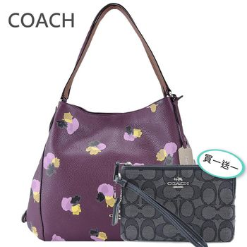 COACH 專櫃款馬車印花荔枝紋牛皮三層肩背包(玫紫)送手拿包