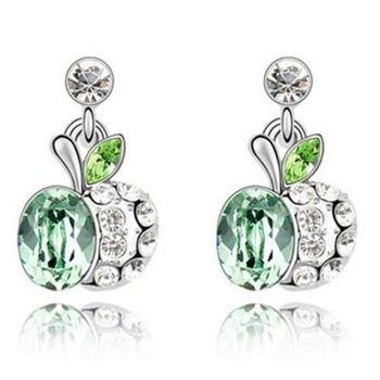 【米蘭精品】水晶耳環925純銀耳針式精緻蘋果別緻鑲鑽4色73bd134