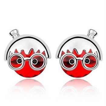 【米蘭精品】水晶耳環925純銀耳針式時尚可愛櫻桃小丸子流行5色73bd135