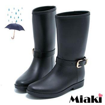 【Miaki】雨天精選雨靴 平底低跟中筒短靴(黑色)
