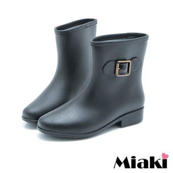 【Miaki】雨靴雨天首選摩登低跟短靴雨鞋 (咖啡色 / 黑色)