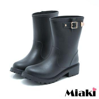 【Miaki】雨靴東大首推低筒低跟短靴(黑色)