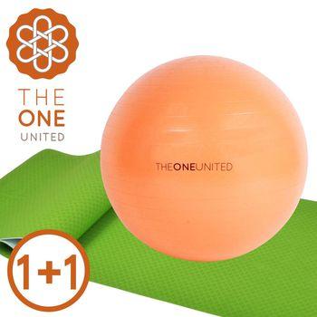 【The One】環保TPE雙色瑜珈墊 6mm +防爆瑜珈球65cm (超值組合1+1)