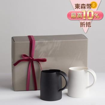 【3,co】水波馬克杯禮盒組(2件式) -  白+黑