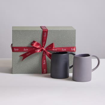 【3,co】水波馬克杯禮盒組(2件式) - 灰+黑